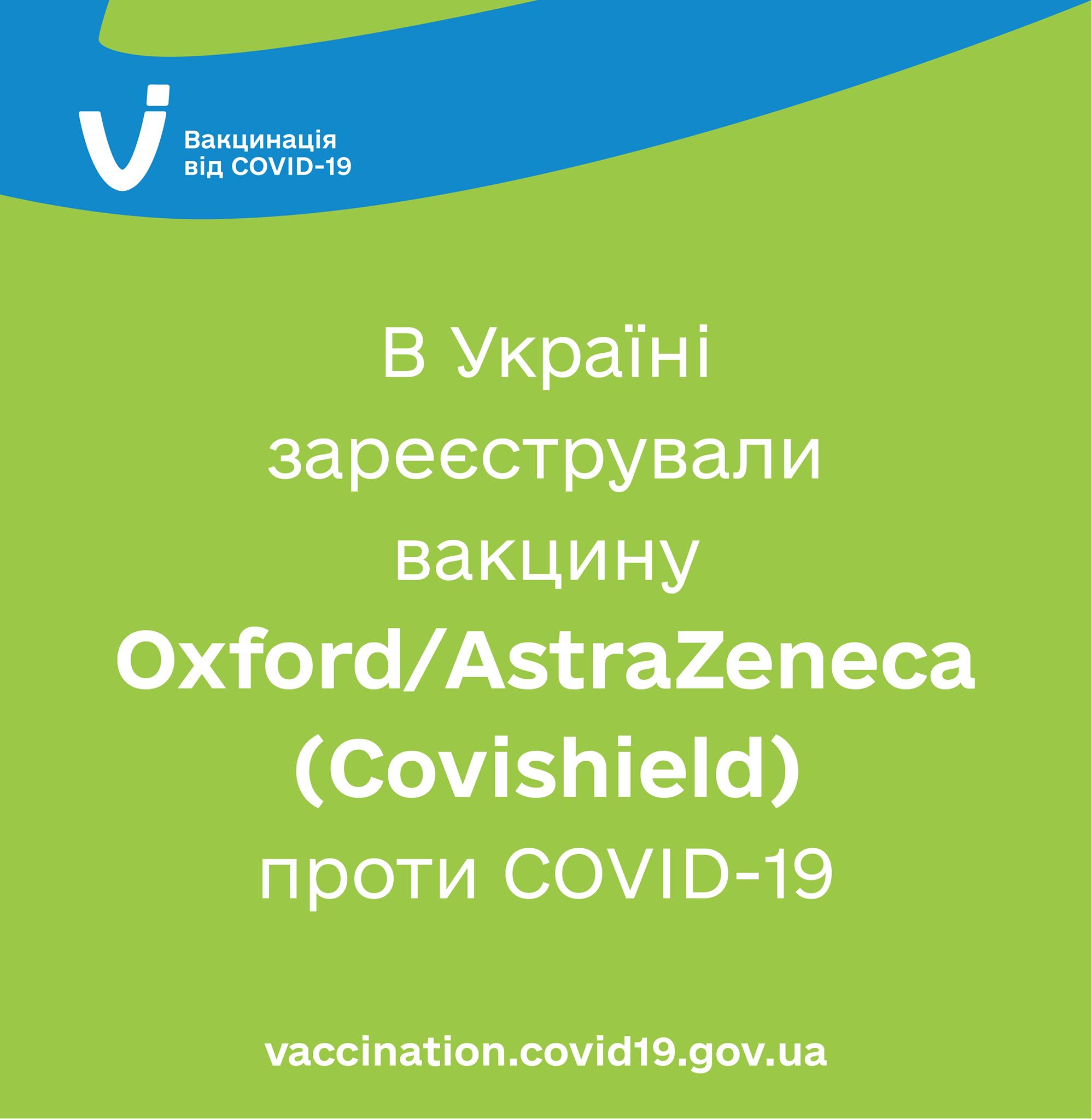 Міністерство охорони здоров'я України зареєструвало вакцину проти COVID-19 Oxford/AstraZeneca для екстреного медичного застосування.