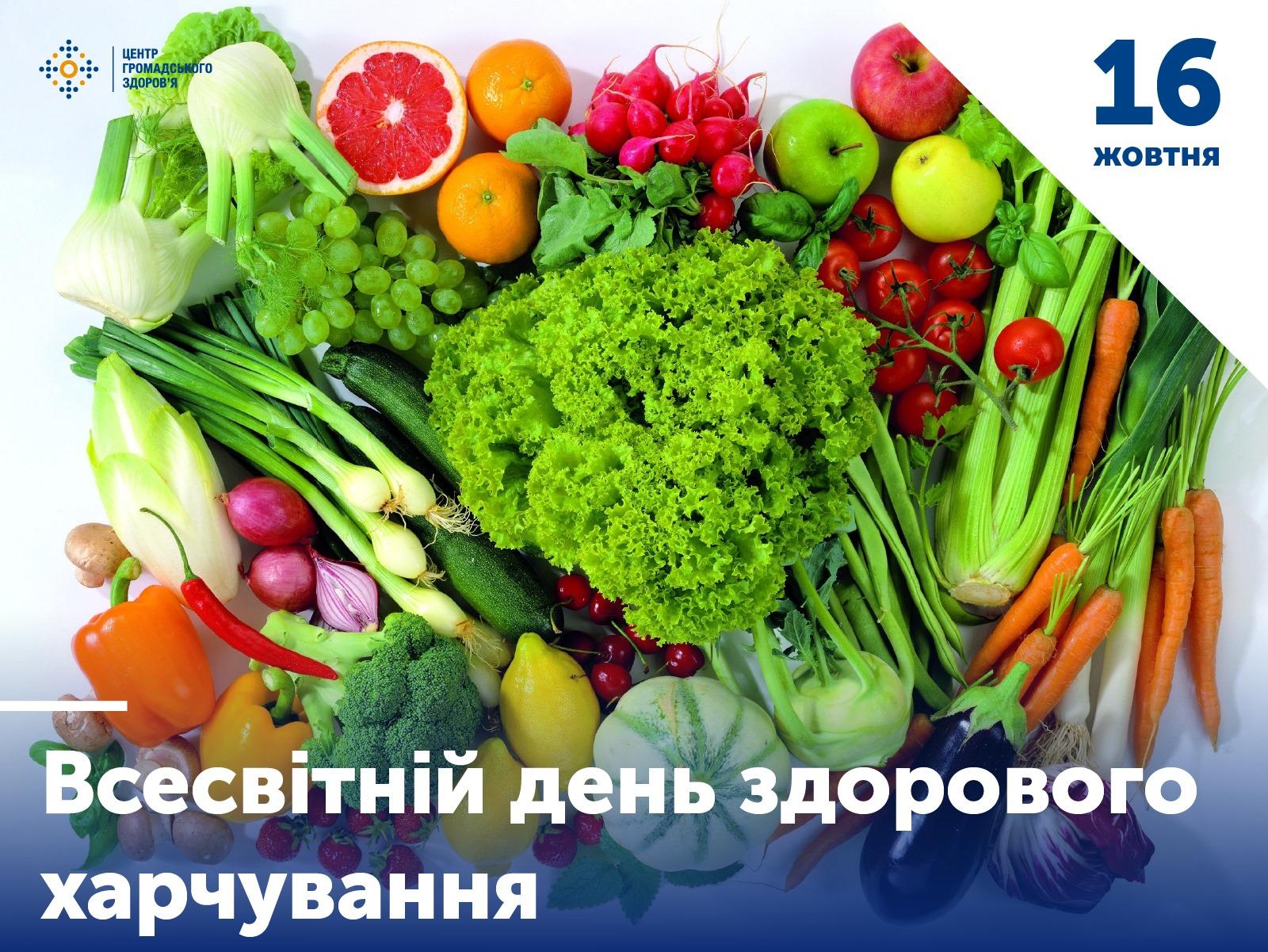 16 жовтня- всесвітній день здорового харчування.